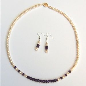 Jewelry - Amethyst and Pearl Necklace and Earring Set